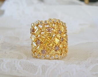 Estate Gold Rhodium BIG Simulated Yellow Diamond Baguette Cocktail Dinner Statement Party Ring Size 9