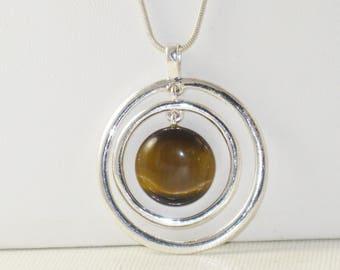 Vintage Glass Tiger Eye Pendant Necklace  (N-2-1)