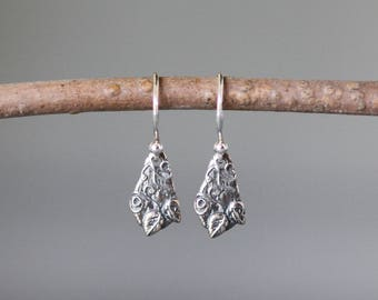 Leaf Charms - Silver Charm Earrings - Small Silver Earrings - Nature Earrings - Bali Silver Earrings - Everyday Jewelry - Gift for Her
