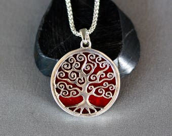 Tree of Life Necklace - Coral Necklace - Reversible Pendant - Silver Tree of Life - Coral Pendant - Judaica Jewelry - Round Pendant - Gift