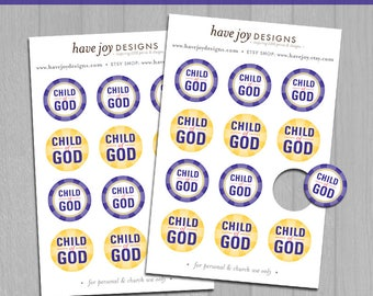 2018 LDS Primary Theme 1-inch Round Tiles Printable (Instant Download) - I Am a Child of God