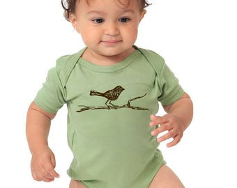 Bird Baby Clothes, Baby Shower Gift, Organic Baby Clothing, Onepiece Bodysuit, Infant Romper, Short Sleeve, Long Sleeve Cute Woodland Aimals