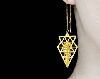 3D Exclusive - 2pcs Raw Brass 3D Geometric Charm / Pendant, Fit For Necklace, Earring (3D004) with 2pcs Ear Thread Ear Wire For Free