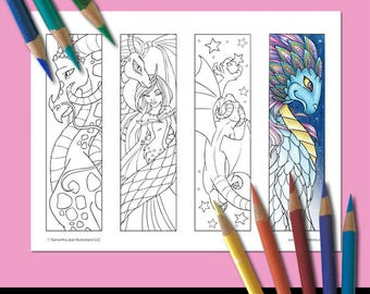 Coloring Bookmarks, Dragon Coloring Pages, Printable Bookmarks, Adult Coloring, Coloring Pictures, Fantasy Bookmark