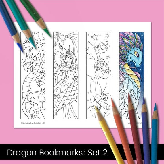 Coloring Bookmarks Dragon Coloring