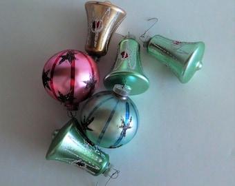 West Germany Mercury Glass Christmas Ornaments - Set of 6