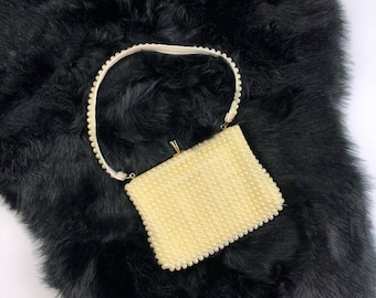 Vintage Cream Off White Faux Pearl Beaded Handbag Clutch Purse