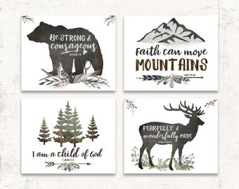 Woodland Nursery Wall Art - Set of FOUR, Bible Verse Prints, Gallery Wall, Boys Room Decor, Forest Animal Prints, Boys Bible Verse Art