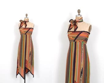 Reserved...Vintage 1970s Dress / 70s Judy Hornby Strapless Striped Silk Dress / Black and Orange ( XS S )