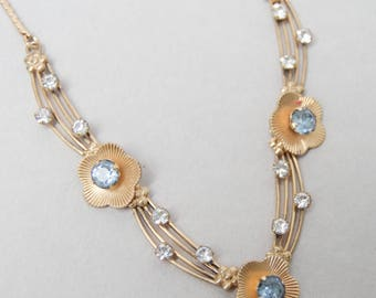 Vintage Van Dell  Rhinestone Necklace . Gold Filled . Blue & Clear Rhinestones . Beautiful