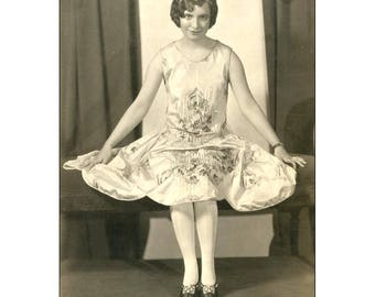Flapper Photograph, 1920's in Folio. Portrait Photograph, Signed. Young Woman in Beaded Dress, Tiara. ShowBiz Full Length Publicity Still