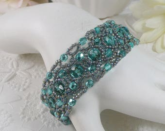 Woven Bracelet with Aqua Green Czech Glass Gifts for Her