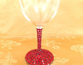 Red Rhinestone Decorated Wine Glasses, Ruby Red Toasting, Holiday, Wedding, Shower, Bridesmaid Glasses, Choose Any Quantity