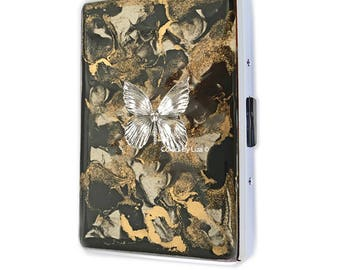 Butterfly Metal Cigarette Case Inlaid in Hand Painted Enamel Black and Gold Quartz Inspired Metal Wallet with Color and Personalized Options