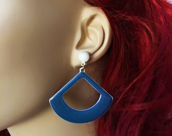 Dangle Hoop Earrings, GoGo Earrings, Blue Hoop Earrings Post, Blue Enamel Earrings, Blue and White Earrings, Blue Earrings Dangling Jewelry