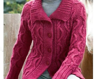 Knitting Pattern - Cable Cardigan/Jacket Women's - XS/Sm, Med, Lge, XLge, 2/3XLge
