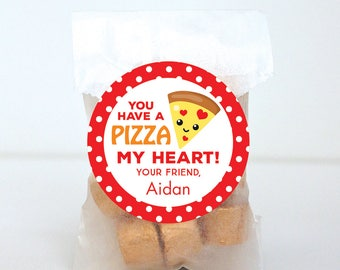 Valentine's Day Stickers - You Have a PIZZA My Heart - Sheet of 12 or 24