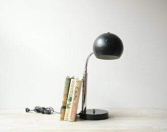 Vintage Desk Lamp, Eyeball Lamp, Black Lamp, Mid Century Modern Lamp, Atomic Lamp
