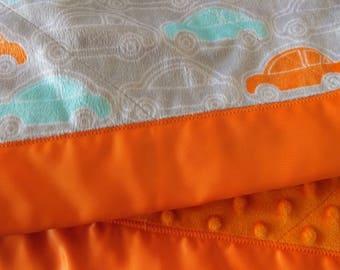 Cars Minky Blanket Gray & Orange