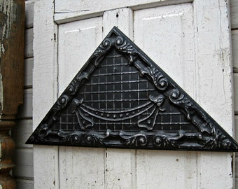 Antique Pressed Tin Panel, Framed Tin Ceiling Tile, Architecture Salvage,  Black Metal Wall