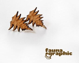 Ferns Earrings  Wooden Lasercut earrings Gifts for her. Gifts for Him.