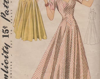 Vintage 1940s Sewing Pattern / Simplicity 3883 / Evening Dress / Gown / Size 20 Bust 38