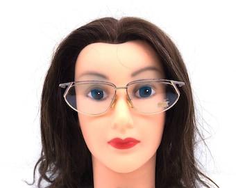 cat eye eyeglasses. deadstock vintage. made in italy. metal eyeglass frames. purple eyeglasses. cat eye glasses. gold metal eyeglasses. 291