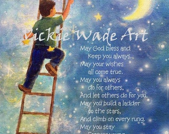 Forever Young, nursery decor, Bob Dylan lyrics, baby gift, gift for baby boy, ladder to the stars, boys room art, blue, Vickie Wade Art
