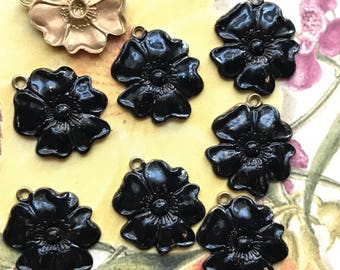 French Flower Charms, Vintage flower Charms, Enamel Flower charms, flower Drops, Black Noir charms, enameled flowers, Rose Charms #1029P