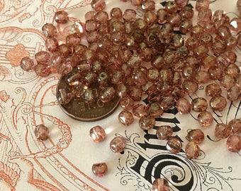 25 Vintage Czech Glass Beads, Iridescent Taupe Beads, Round  beads, Tiny Beads, Modern Beads, Minimalist Beads, Cream Beads #B130A