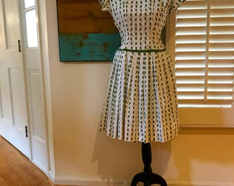50s Betty Barclay Day Dress Kitsch Retro Novelty Print Coffee Pepper Grinders Metal Side Zipper Cute Comfy Couture