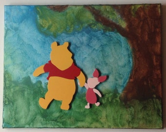 Winnie the Pooh and Piglet Walking, Melted Crayon Art Painting