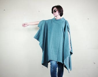 Oversize Chic Modern Casual Short Sleeve Dark Teal Green Brushed Cotton Mix Polyester Cocoon Cape Cloak Poncho Women Outerwear P317