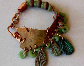 Rustic Copper Cuff Bracelet w Vintage Green African Glass and Artisan Ceramic Dangles Gypsy Boho Artisan Bracelet