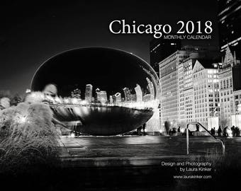Chicago 2018 B&W Monthly Wall Calendar - Classic Edition