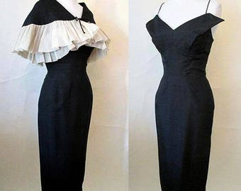 Stunning 1950's Designer Silk Hourglass Cocktail Party Dress with Matching Caplet Vintage Chic VLV Size Small
