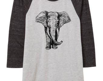 Womens Elephant illustration shirt - baseball shirt - 3/4 sleeve - clothing -fashion - black and white - illustration - elephants