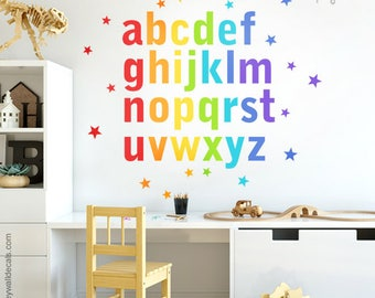 Alphabet Wall Decal, Alphabet Wall Sticker, Letters Wall Decal, Rainbow Alphabet Wall Decal, ABC Rainbow Lettering and Stars Playroom Decor