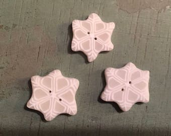 "Snowflake Buttons, ""Small Snowflakes"" Handmade Buttons by JABC, Set of 3, Sewing, Cross Stitch, Quilting, Embellishments"
