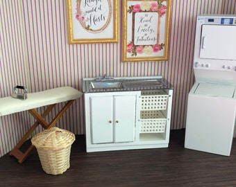 Miniature Laundry Room Set, Style 33, Dollhouse Miniature Furniture, 1:12 Scale, Stackable Washer Dryer, Sink, Hamper, Ironing Board, Iron