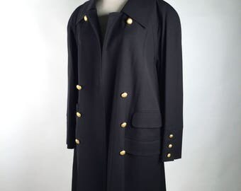 Vintage 90s Womens Black Swing Coat,  Karl Lagerfeld, KL, A Line, Black, Gold Buttons, Double Breasted, 4 Pockets, Minimalist, 90s Fashion