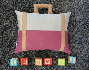 Suitcase Pillow - Travel Theme - Decorative Pillow - Nursery - Baby Girl - Decor