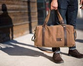 NO. 495 Men's Weekender Bag Personalized Duffle Bag in Brown Waxed Canvas Gym Bag Carry On Travel Bag Overnight Bag Gift for Him Made in USA