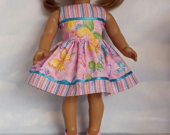 18 inch doll clothes - Pink Butterfly Dress made to fit the American Girl Doll - FREE SHIPPING USA