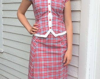 50s Plaid Top and Skirt Set Retro Gray Red Cotton Check XS