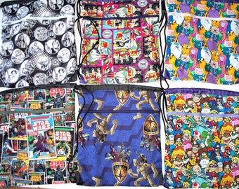 Fabric Covered,Nylon Lined,Drawstring Backpack,Star Wars,Adventure Time,Ninte1ndo Mario,Guardians Galaxy Groot,Wonder Woman Back To School