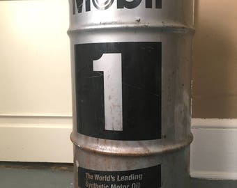 Mobil Oil Drum Trash Can