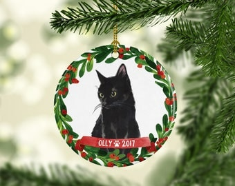 Cat Ornament Pet Gift Cat Christmas Ornament Black Cat Ornament Black Cat Christmas Ornament Cat Lover Gift Red Green Black Cat Gift Paw