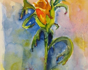 Yellow Rose Floral watercolor painting 12x9 Art by Delilah