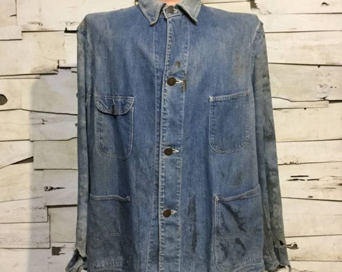 Vintage 40's Denim Chore Coat/ Coverall Jacket (ps-wj-6)